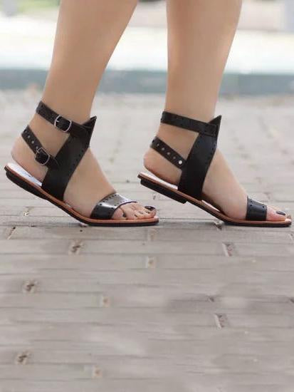 Open Toe Flat Sandals Shoes - Zebrant