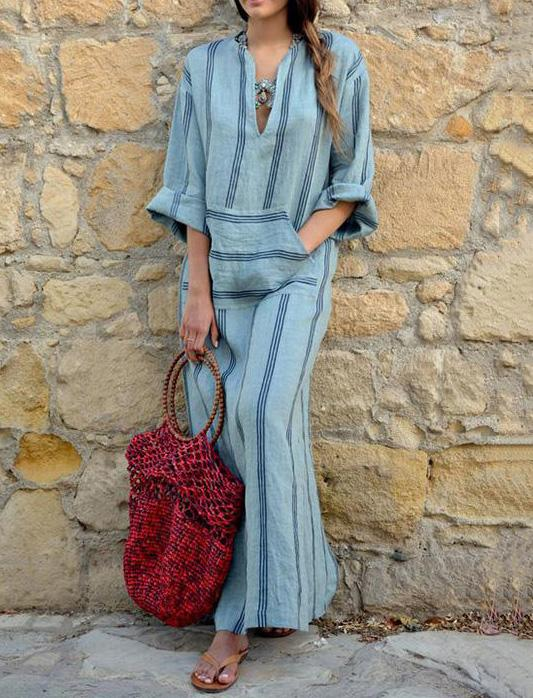 Casual Stipes Long Dress in Blue Color with Frontal Pocket - Zebrant