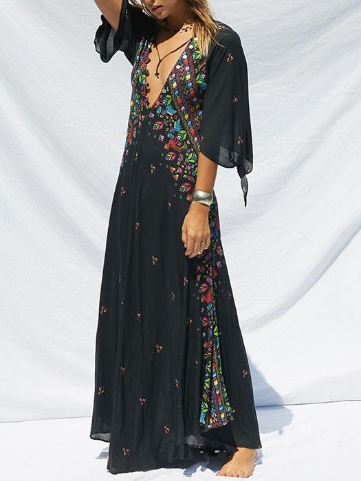 Beautiful Bohemia 3/4 Sleeve V-Neck Floral Black Maxi Dress - Zebrant