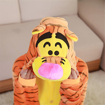 Adults' Tiger Kigurumi Pajamas Onesie Pajamas Polar Fleece Orange Cosplay