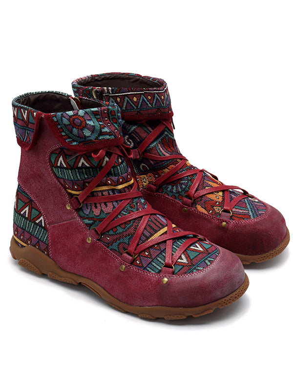 Outdoor leather comfortable flat women's boots - Zebrant