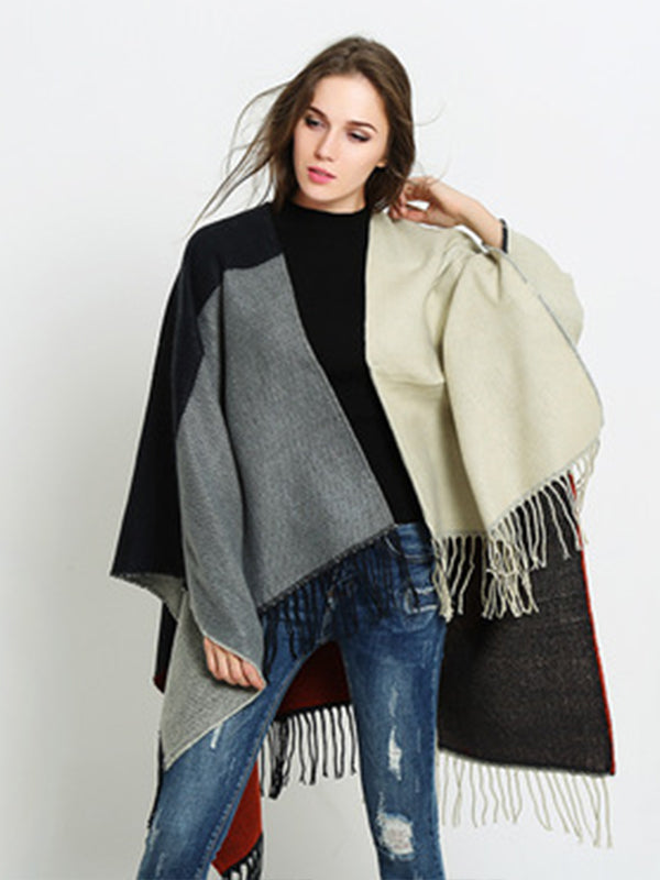 shawl dual-use winter thick warm cloak Split scarf