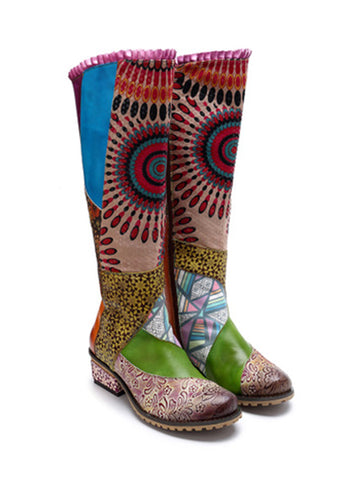 Casual vintage ethnic style leather Handmade overknee boots - Zebrant