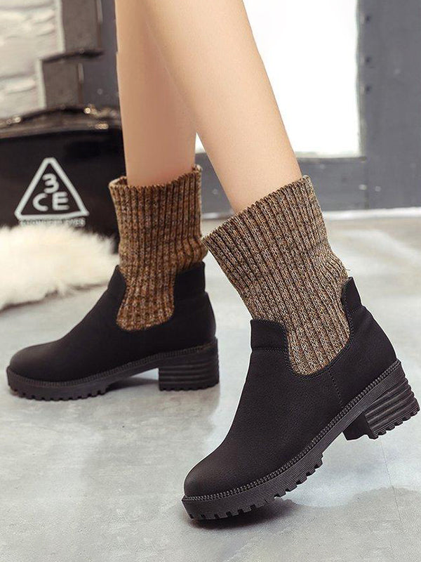 Foldable Knitted Cuff Martin Boots - Zebrant