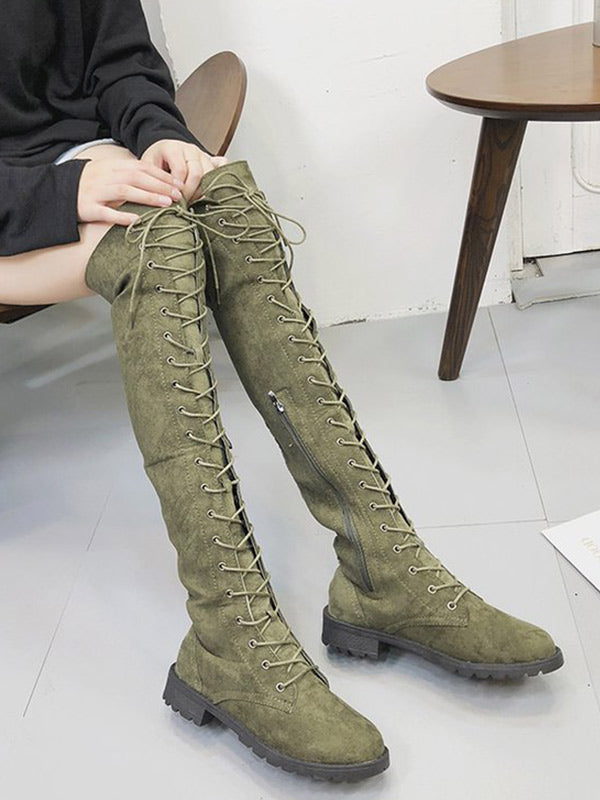 Low heel Over the knee Boots - Zebrant