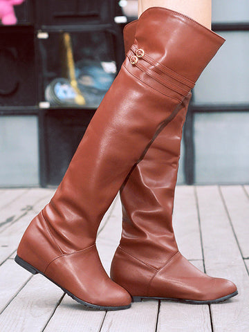 Casual round head Over knee Boots - Zebrant