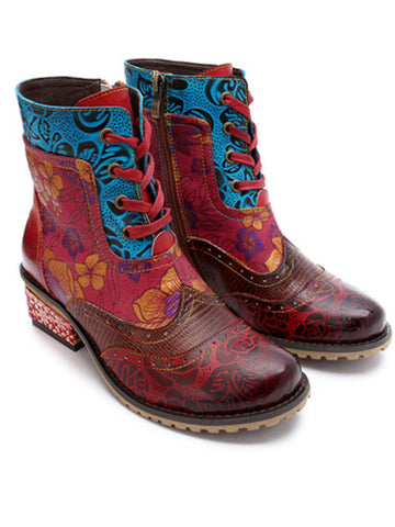 Casual vintage ethnic style Handmade Leather Boots - Zebrant