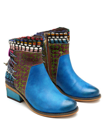 Blue Leather denim super comfortable women's boots - Zebrant