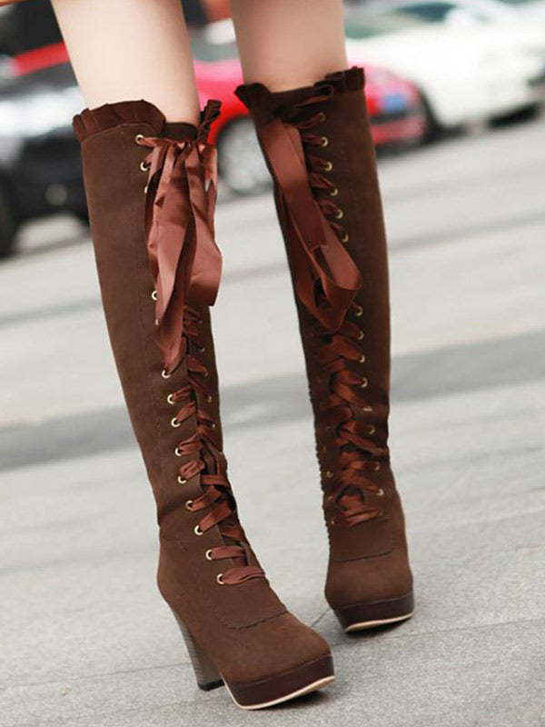 Lady Bow high boots - Zebrant