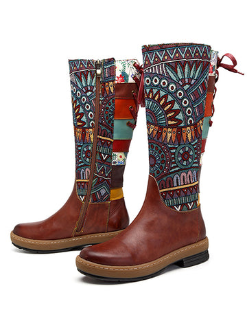 Boho Leather High Boots - Zebrant