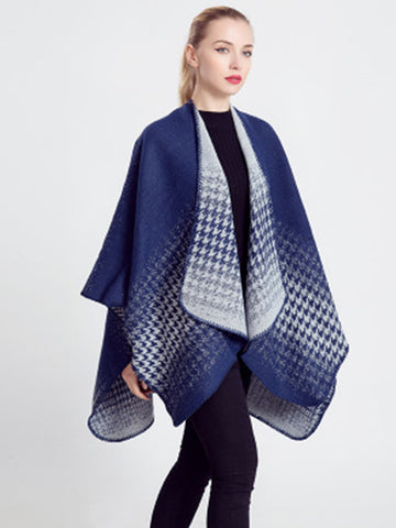 4 Style Houndstooth Gradient Herringbone Colorblocked Shawl Contrast Scarf - Zebrant