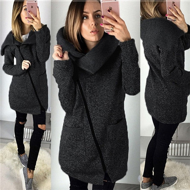 Women Spring Winter Zipped Sweatshirt Big Colar Coat - Zebrant
