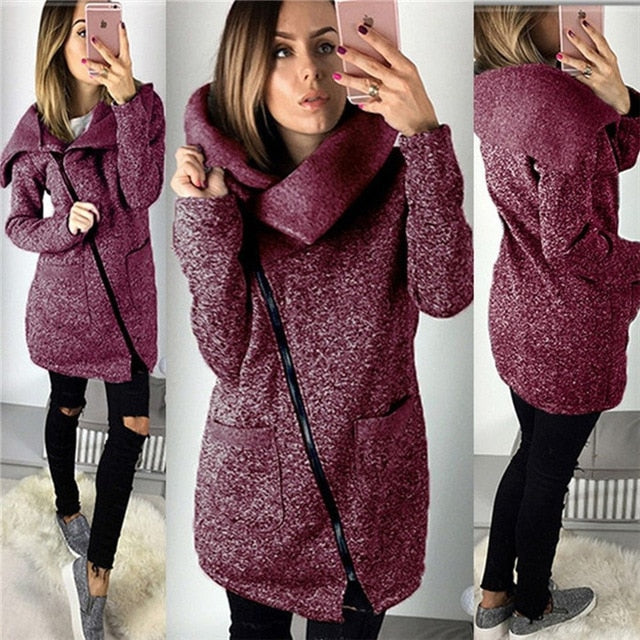 Women Spring Winter Zipped Sweatshirt Big Colar Coat