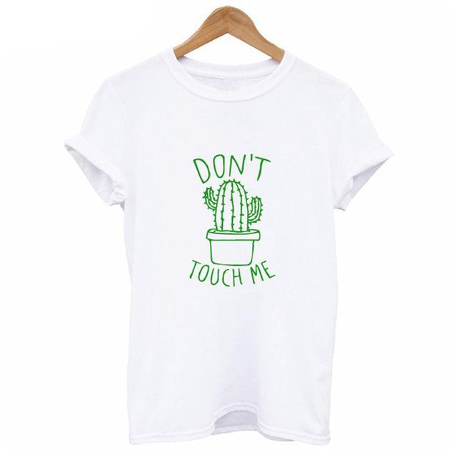 DON'T TOUCH ME Cactus or Cat Face Women Casual T-shirt - Zebrant
