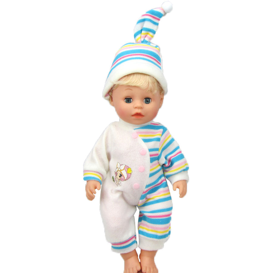 Stripes Rompers Jumpsuit Pajames Outfits With Hat For 16 inch American Girl Doll - Zebrant