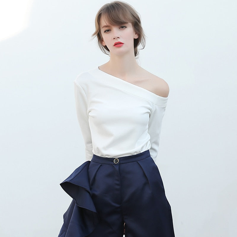 Charming Off Shoulder Female T-shirt in White Color - Zebrant