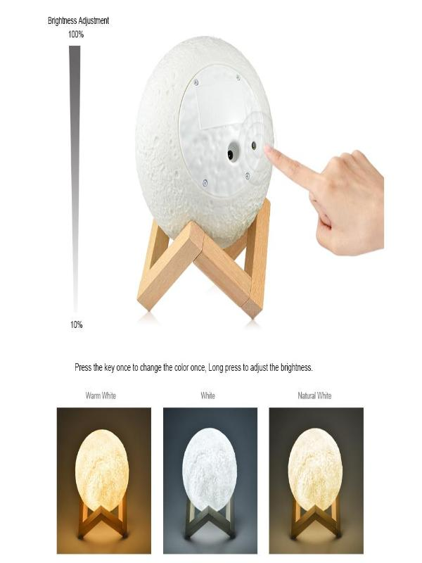3 Color Changeable 3D Print Moon Night Moonlight LED USB Lamp - Zebrant