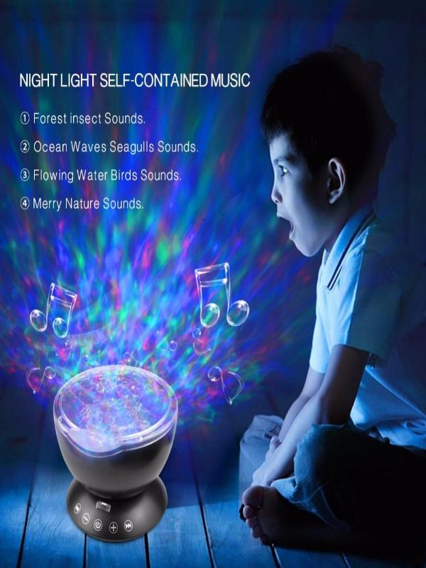 Ocean Wave Starry LED Lamp 7 Modes Audio Speaker, Christmas Edition