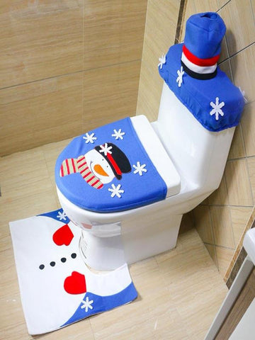 Christmas Decorations Christmas Snowman Toilet Covers Set - Zebrant