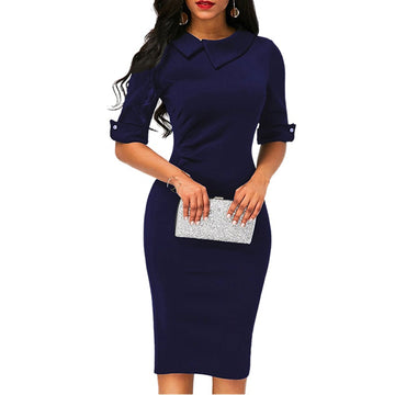 Women Formal Dress Elegant Autumn in Buisness Retro Style, 4 Colors - Zebrant