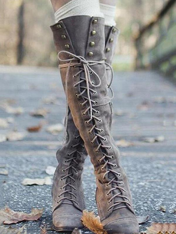 Fashion Rivet Bandage Thigh-high Boots Shoes - Zebrant