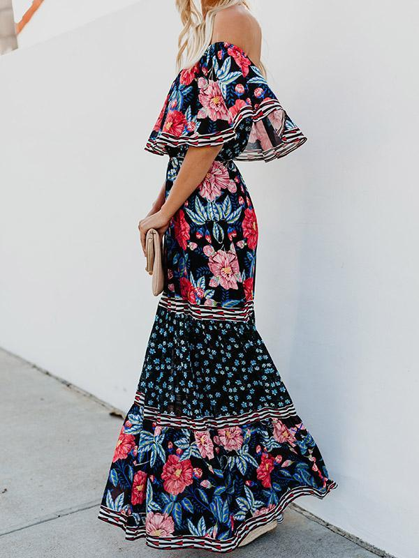 Off-the-shoulder Printed Bohemia Maxi Dress