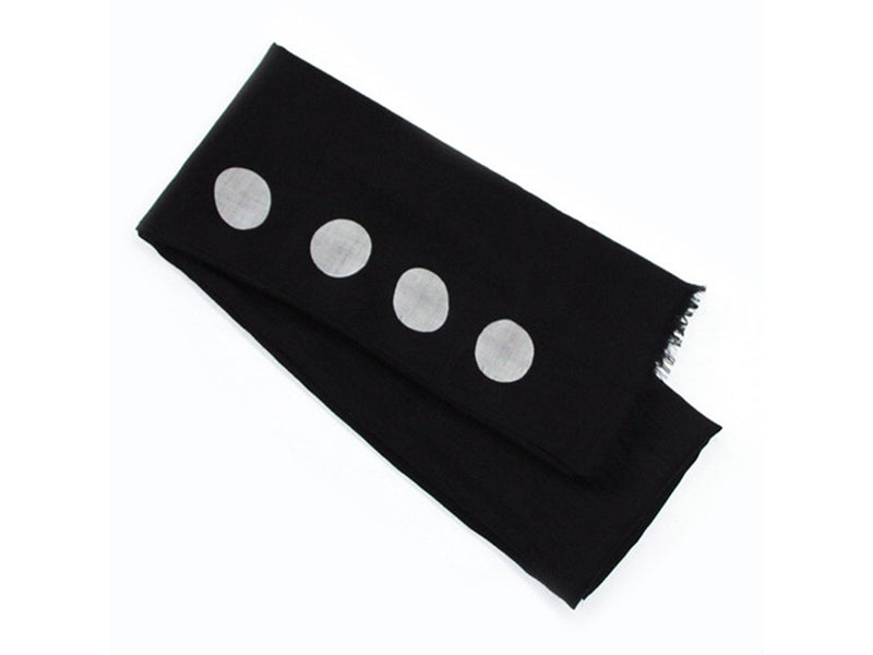 Hand -Dyed Stole - Black With White Dots