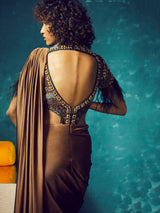 EMBROIDERED FAUX BODYSUIT SAREE GOWN