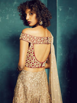 MAROON EMBROIDERED BLOUSE WITH GOLD BROCADE PANELLED LEHENGA