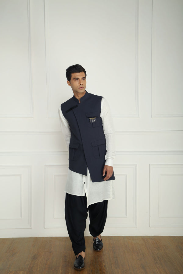 GREY PATCH POCKET NEHRU JACKET SET