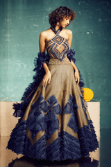 BLUE GOLD PANELLED BROCADE LEHENGA WITH EMBROIDERED CORSET