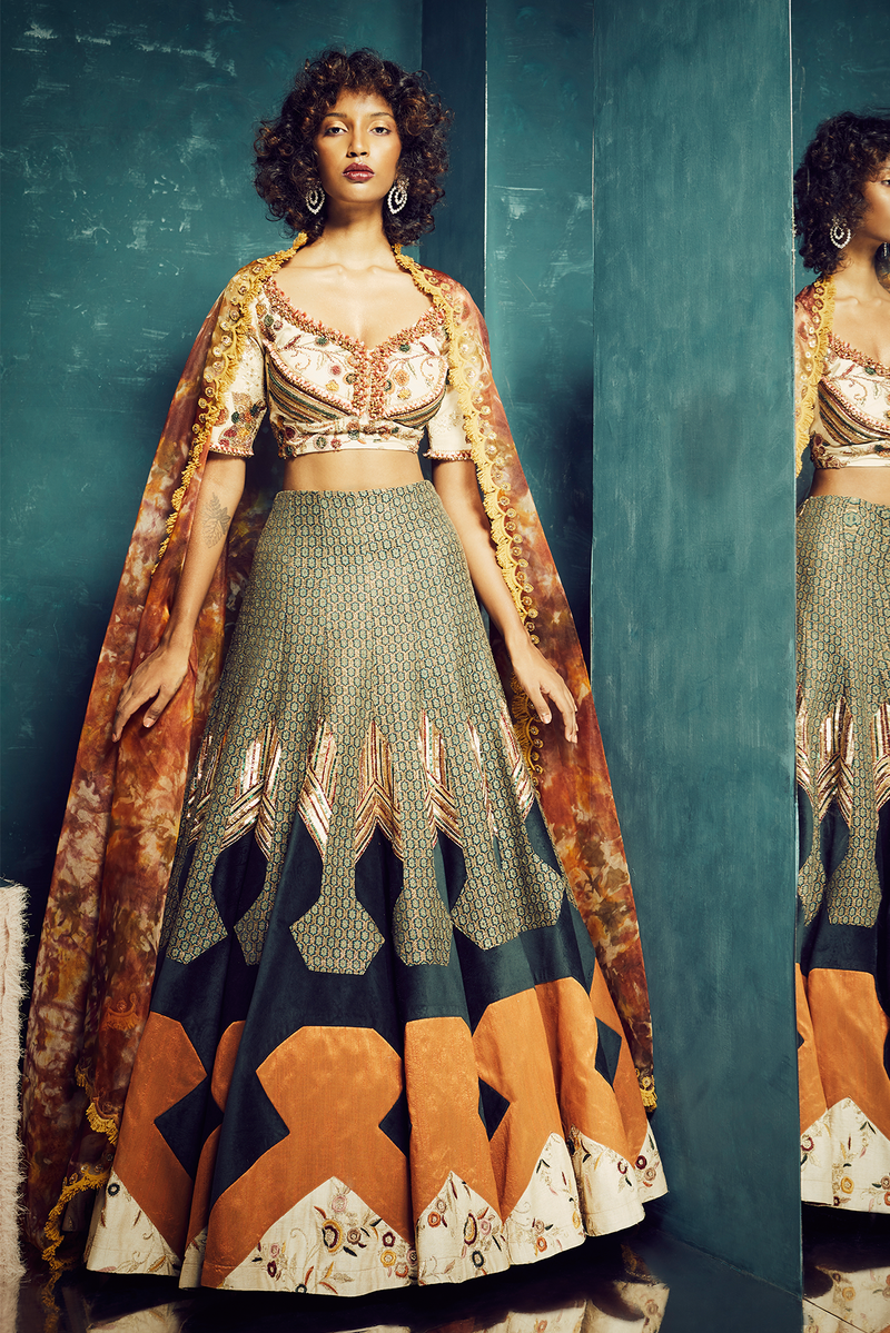 BOTTLE GREEN PANELLED LEHENGA WITH EMBROIDERED CHOLI
