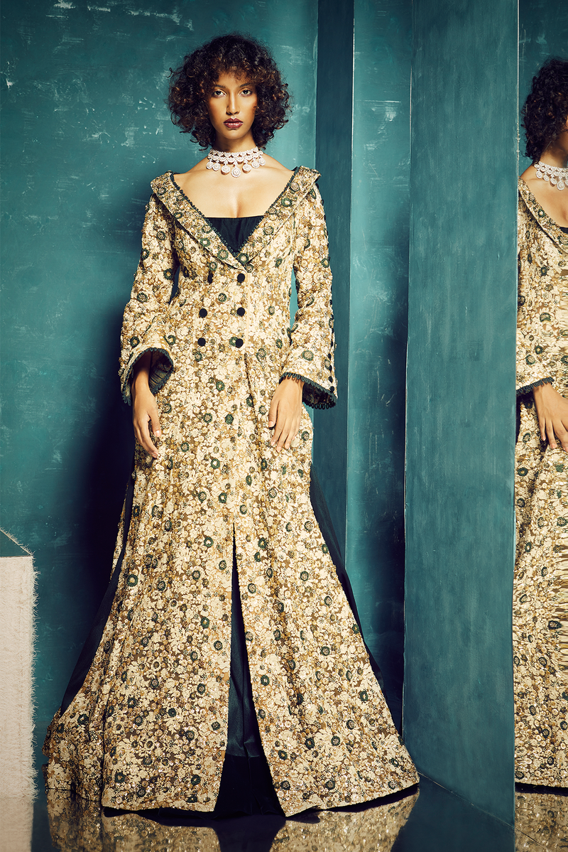 BEIGE EMBROIDERED JACKET WITH BOTTLE GREEN LEHENGA