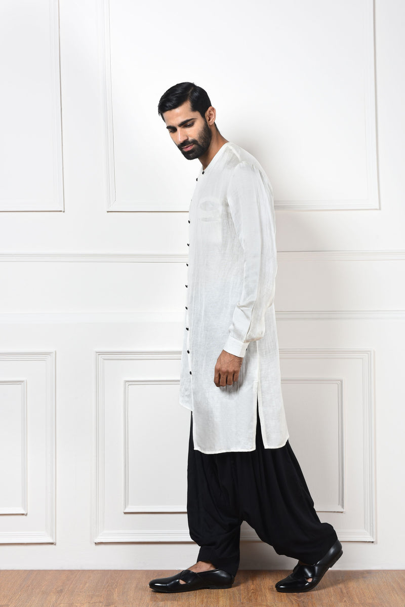 WHITE ASYMMETRIC KURTA SET