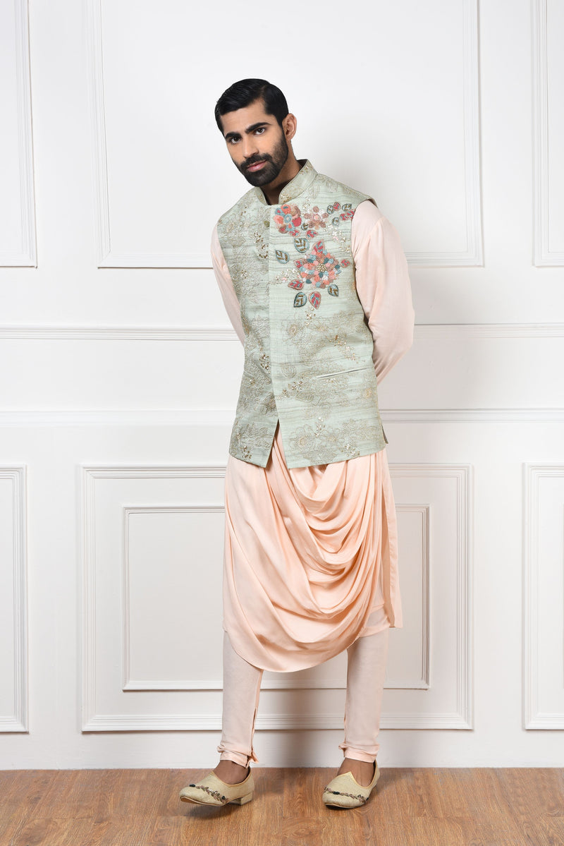 MINT EMBROIDERED NEHRU JACKET SET
