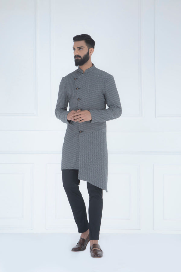 BLACK AND WHITE HERRINGBONE ASYMMETRIC KURTA SET