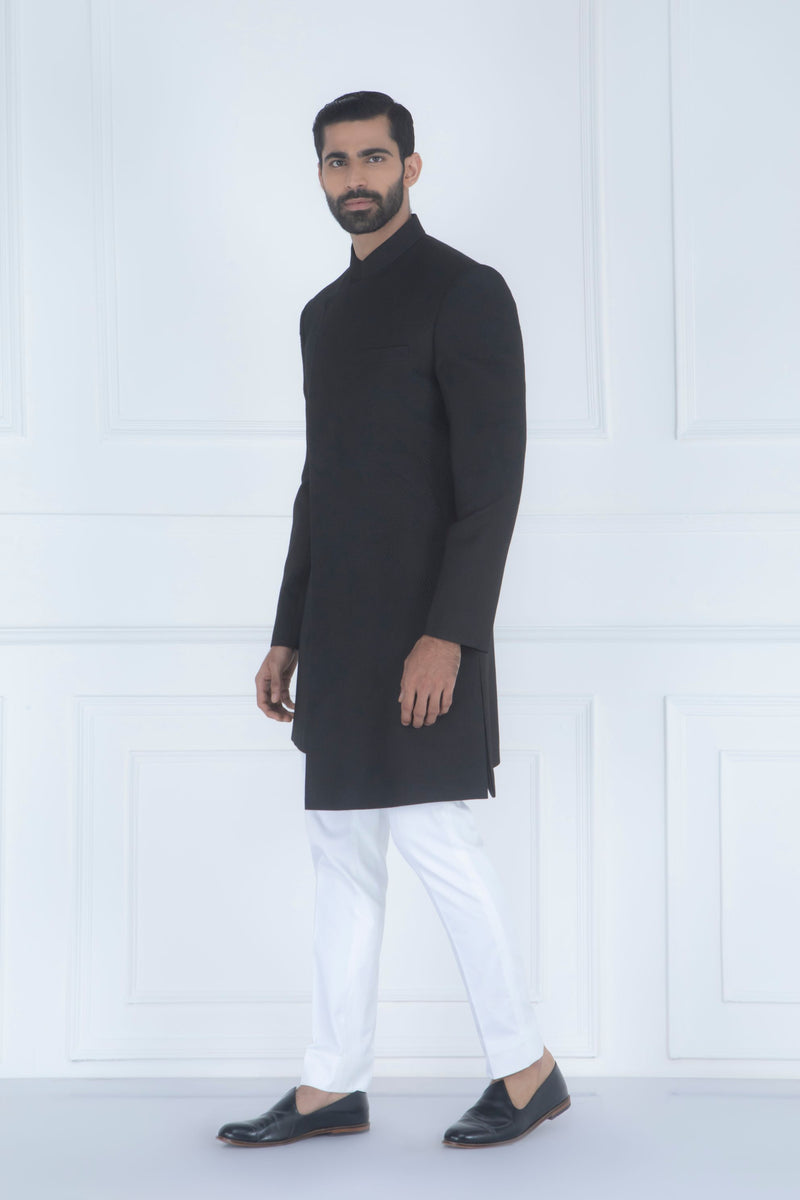 BLACK QUILTED INDOWESTERN SET
