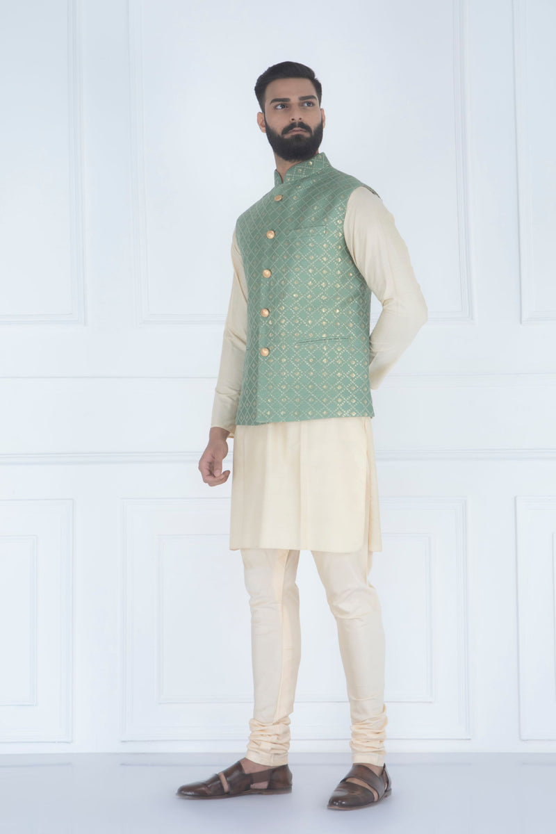 MINT AND GOLD EMBROIDERED NEHRU JACKET SET