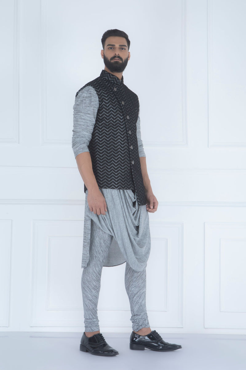 BLACK WEAVE ASYMMETRIC NEHRU JACKET SET