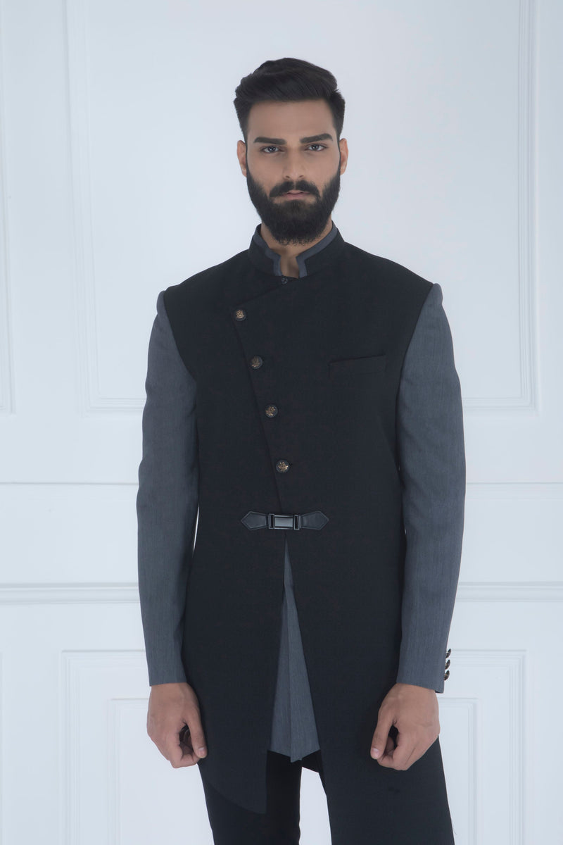 BLACK PANELLED INDOWESTERN SET