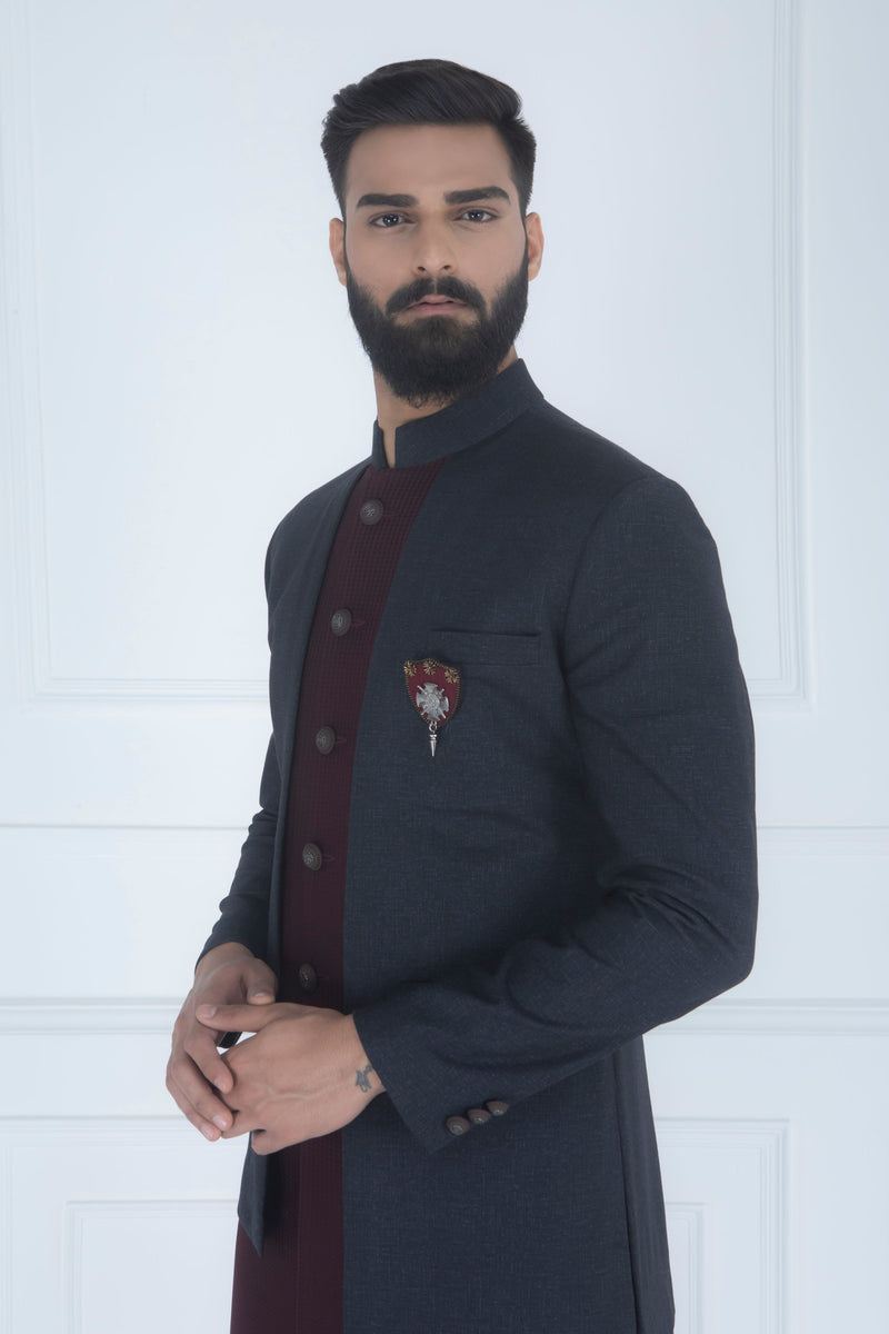 GREY AND WINE PANELLED INDOWESTERN SET
