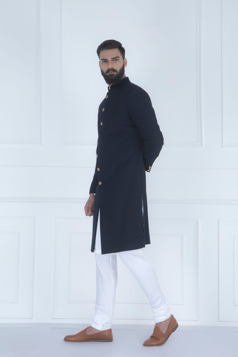 BLUE ASYMMETRIC SHERWANI SET