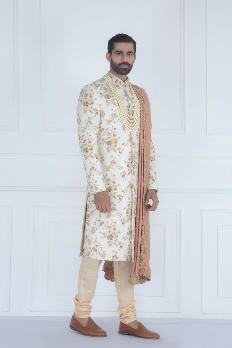 BEIGE EMBROIDERED SHERWANI SET (STOLE INCLUDED / MALA - NOT INCLUDED )