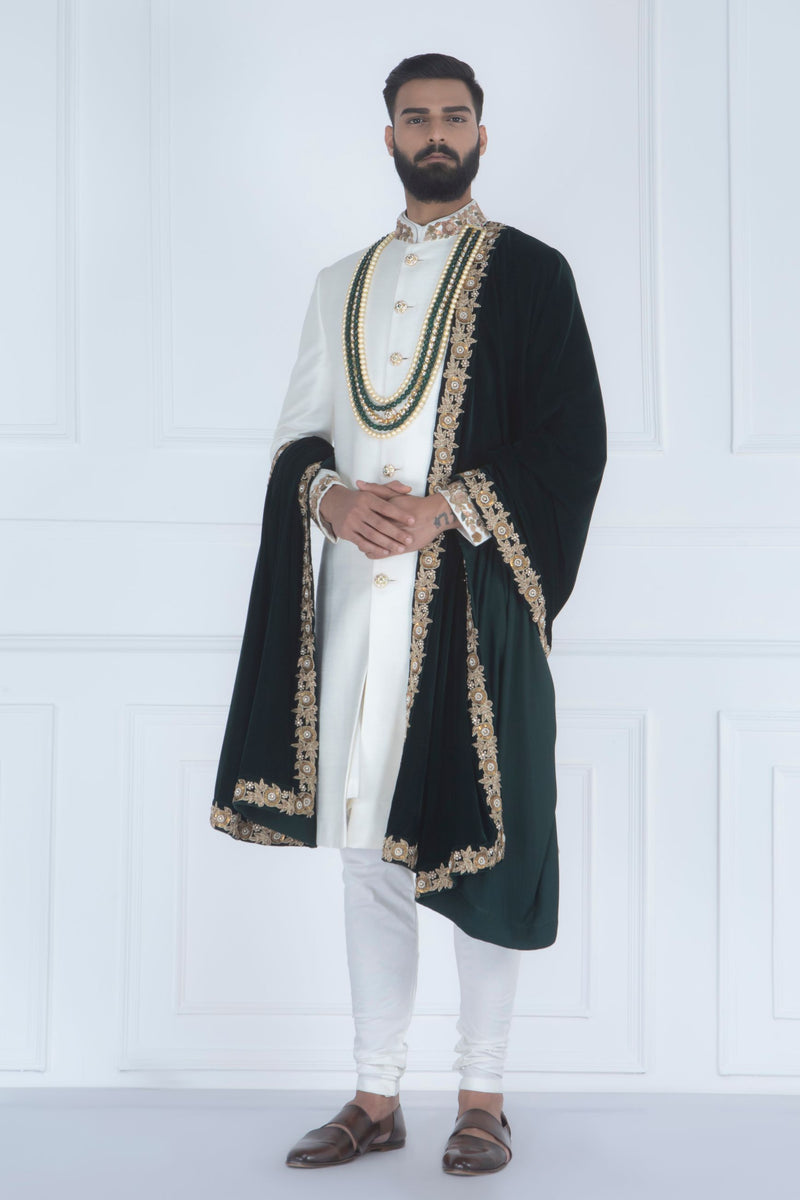 WHITE SHERWANI SET