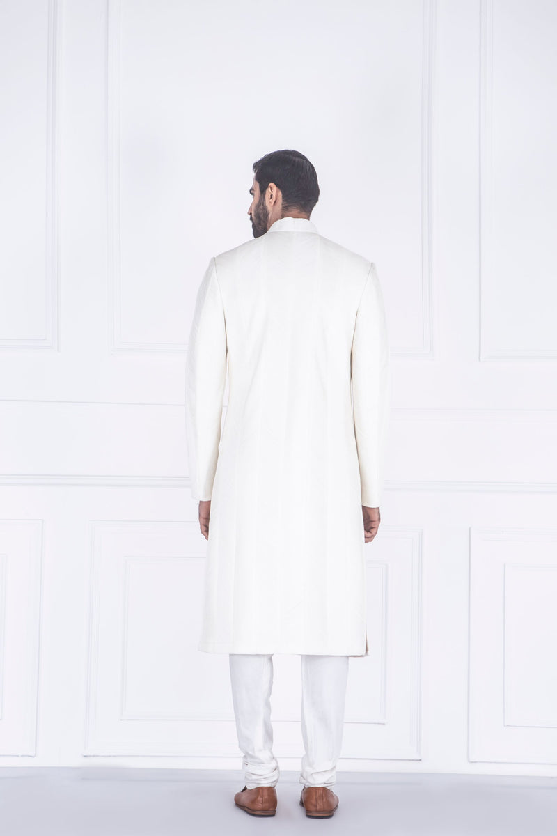 WHITE PINTUCK SHERWANI SET