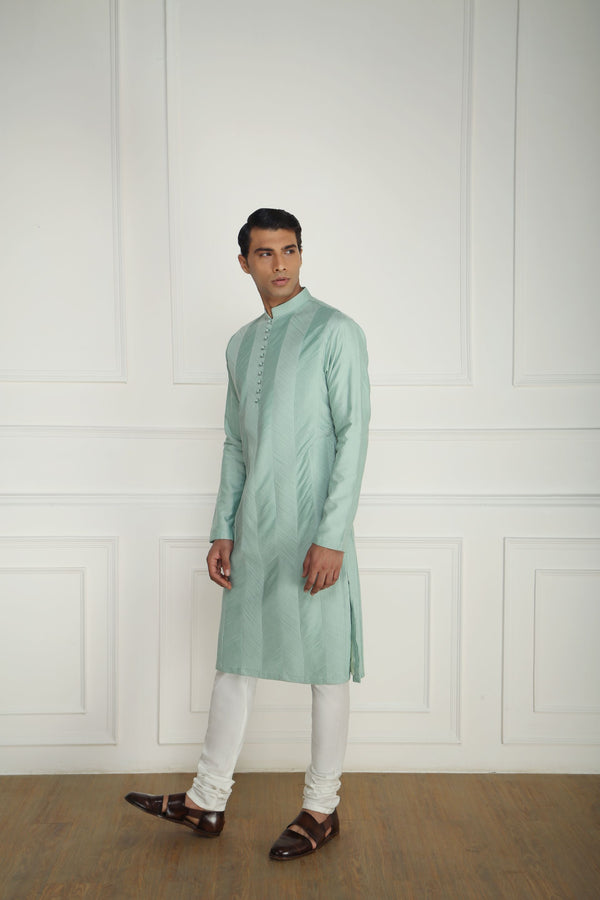 TEXTURED MINT KURTA SET