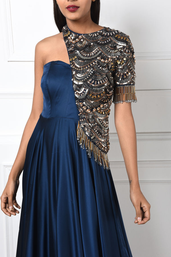 NAVY BLUE ONE-SHOULDER SATIN GOWN