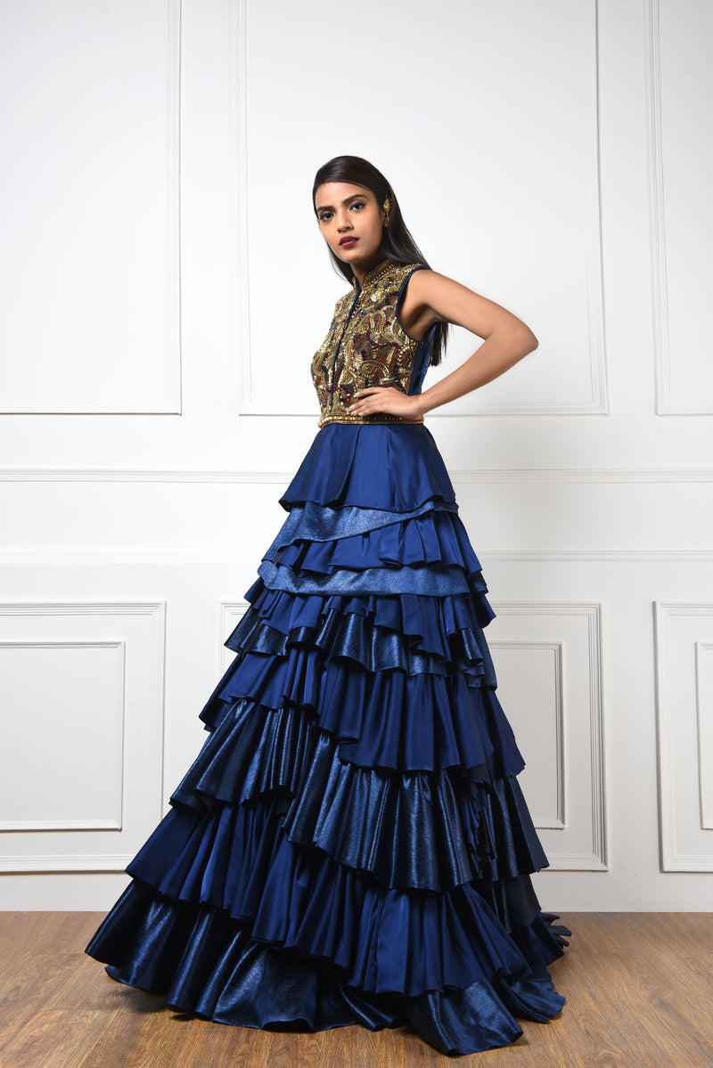 NAVY BLUE TIERED COCKTAIL GOWN