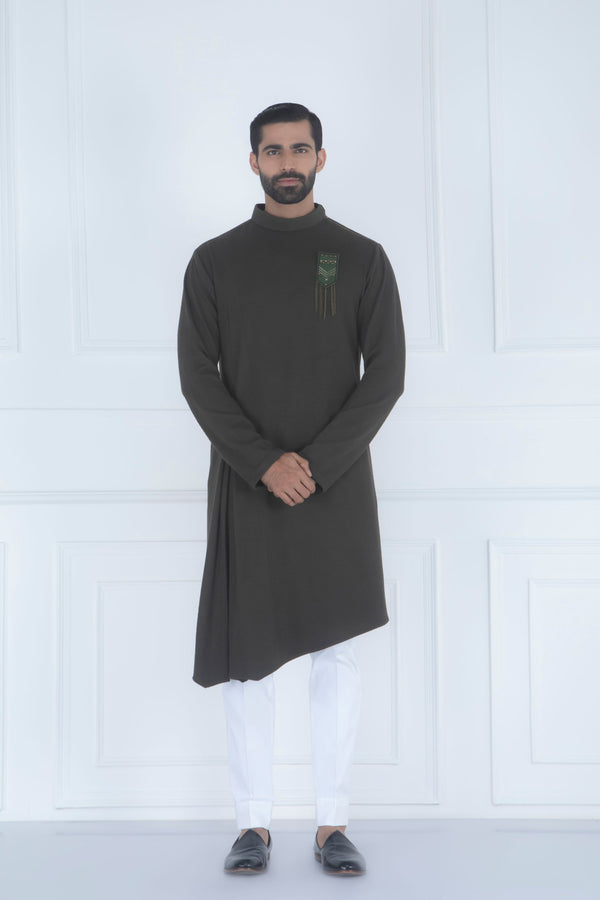 OLIVE GREEN ASYMMETRIC KURTA SET