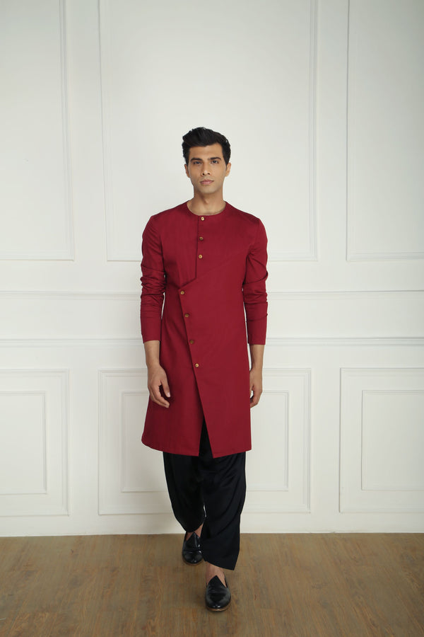 MAROON TEXTURED ASYMMETRIC KURTA SET